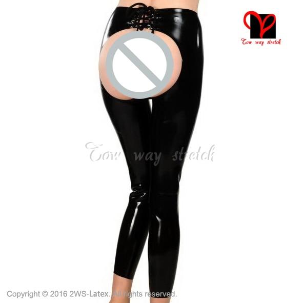 Sexy Black Latex Leggings spanking Open chaps Rubber pants lace back leg Gummi Trousers butt Less Long bottom XXXL KZ-025