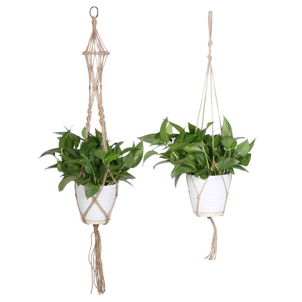 Plant Hanger Pot Holder Polypropylene Fiber Rope Handmade Macrame 4 Leg Bright White Garden Home Decoration Plant Display rope