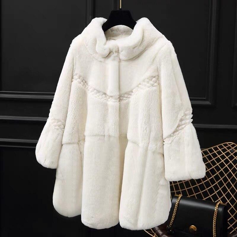 Automne hiver réel/véritable manteau de fourrure de lapin Rex femmes hiver naturel Rex manteau de fourrure de lapin/veste A177