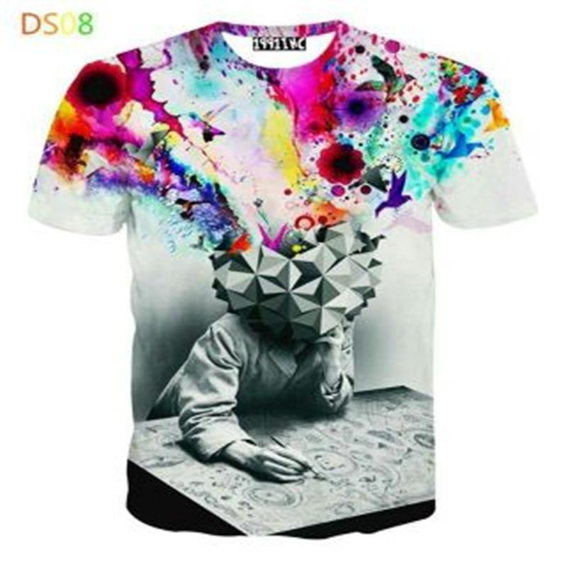 Nueva camiseta de verano 2016 a la moda de impresión abstracta de Thinker Unisex transpirable Casual 3d camiseta para hombres Harajuku camiseta M-4XL