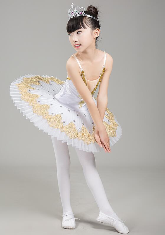 Crêpe cygne lac Ballet Costume ballerine robe enfants court Feminino Ballet Tutu jupe robe de danse pour les filles enfants