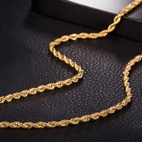 knot choker necklace womens mens rope chain gold filled wholesale retail classic twisted necklace 3mm18 inches
