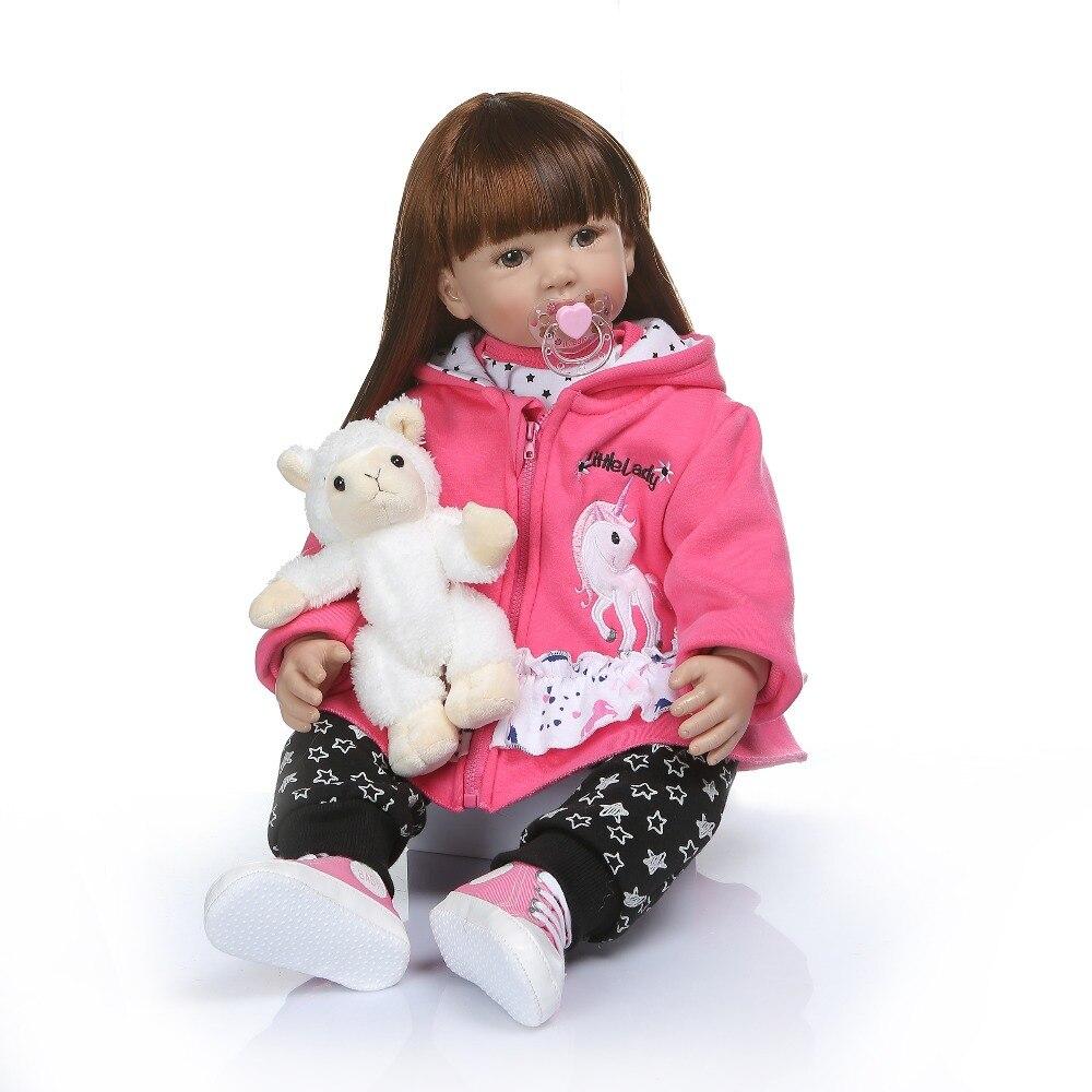60CM tamaño grande bb reborn todder chica princesa muñeca largo pelo suave peine divertido juguete suave tacto silicona vinilo regalo de muñeca de bebé reborn