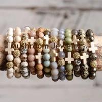 bohemia pave gold ball beads cross turquoise bracelet stone beads for bracelet yoga