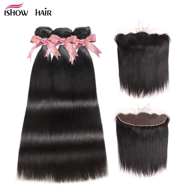 ishow cabelo liso empacota com fechamento feixes de cabelo brasileiros com fechamento