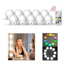 LEDGLE Bellezza Specchio cosmetico Luce Kit Per Tabella di Preparazione RGB 10 Lampadine USB 5V Chiaro Della Parete di Stepless Dimmerabile Hollywood trucco Lampada