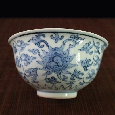 Tazones de porcelana antiguos Wanli año azul y blanco de hoja de loto Boles ornamentales, regalos ornamentales.