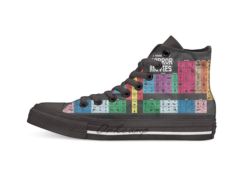 Tabla Periódica de películas de terror Casual High Top zapatos de lona zapatillas Zapatillas de andar ligeras