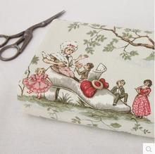 ZERZEEMOOY, 50x145 cm, tela de lona Vintage europea de cuento de hadas, tela de arpillera para textil para coser, acolchado Diy para bolso de cortina de almohada