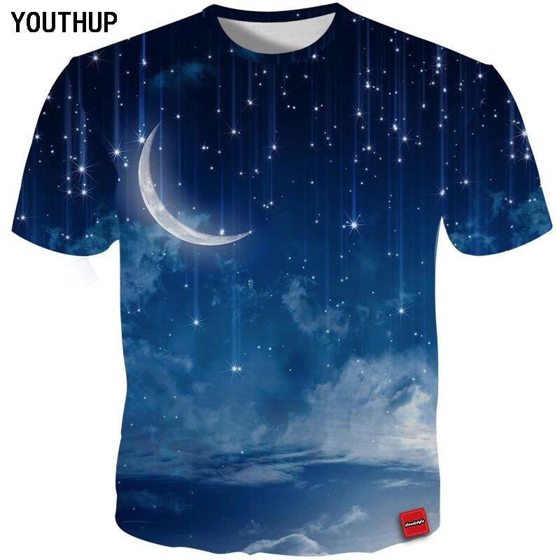 Youthup 2020 nova moda masculina camisetas t 3d impressão meteoro lua men t manga curta o-pescoço verão tops streetwear plus size