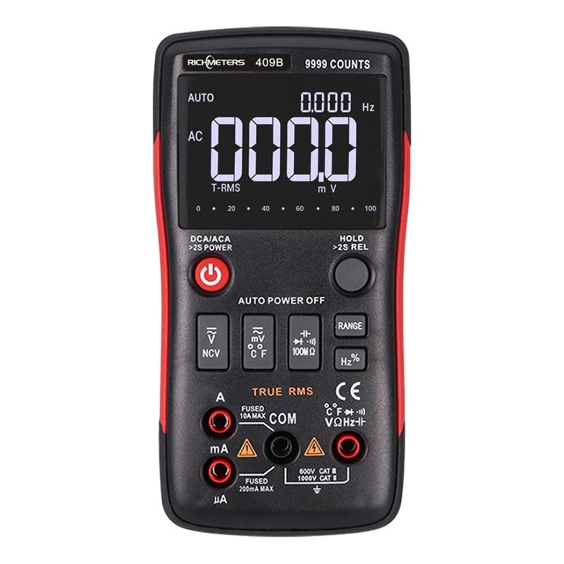 RM409B/RM408B True-RMS multímetro Digital botón 9999/8000 recuentos con barra analógica gráfico AC/DC amperímetro de voltaje corriente Ohm Auto