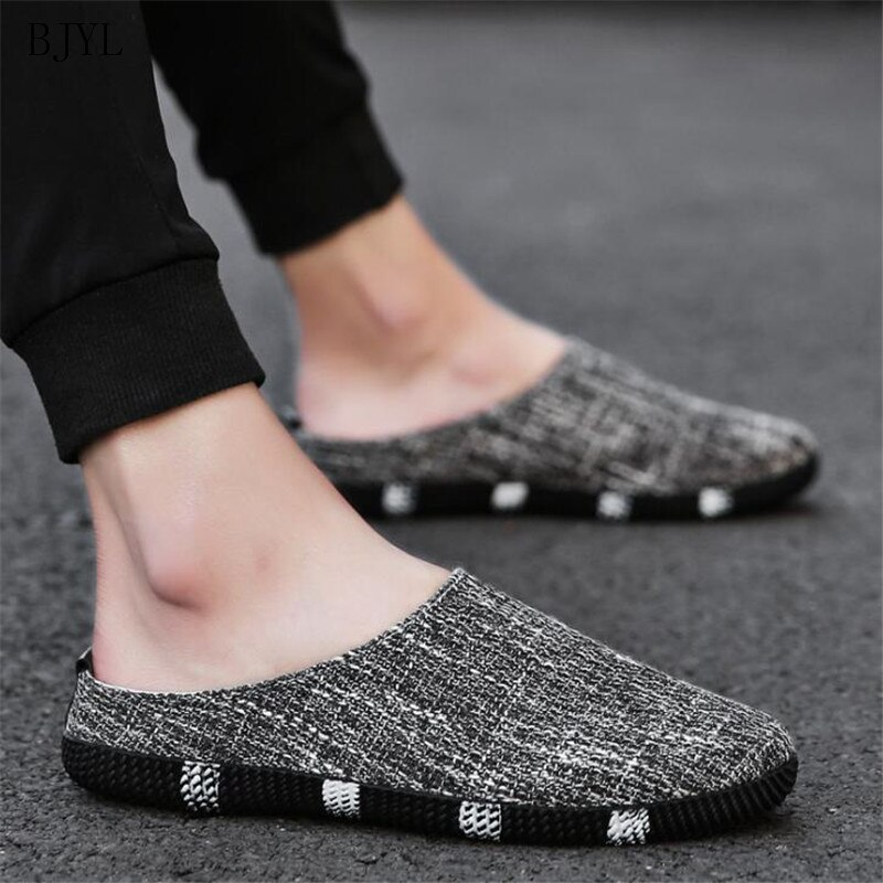 BJYL 2019 summer new men's peas shoes men's pedals linen shoes breathable casual shoes Korean low cut tide shoes B153