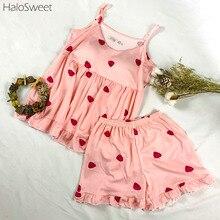 HaloSweet Sleepwear Women Cotton Pijama Lingerie Pyjamas Women Suit Female Pajamas Suit Summer Home Clothes For Women Shorts