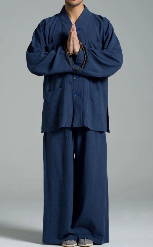 AZUL Unisex Verão Cotton & linho ternos monge budista zen lay meditação conjuntos uniformes de kung fu roupas de artes marciais