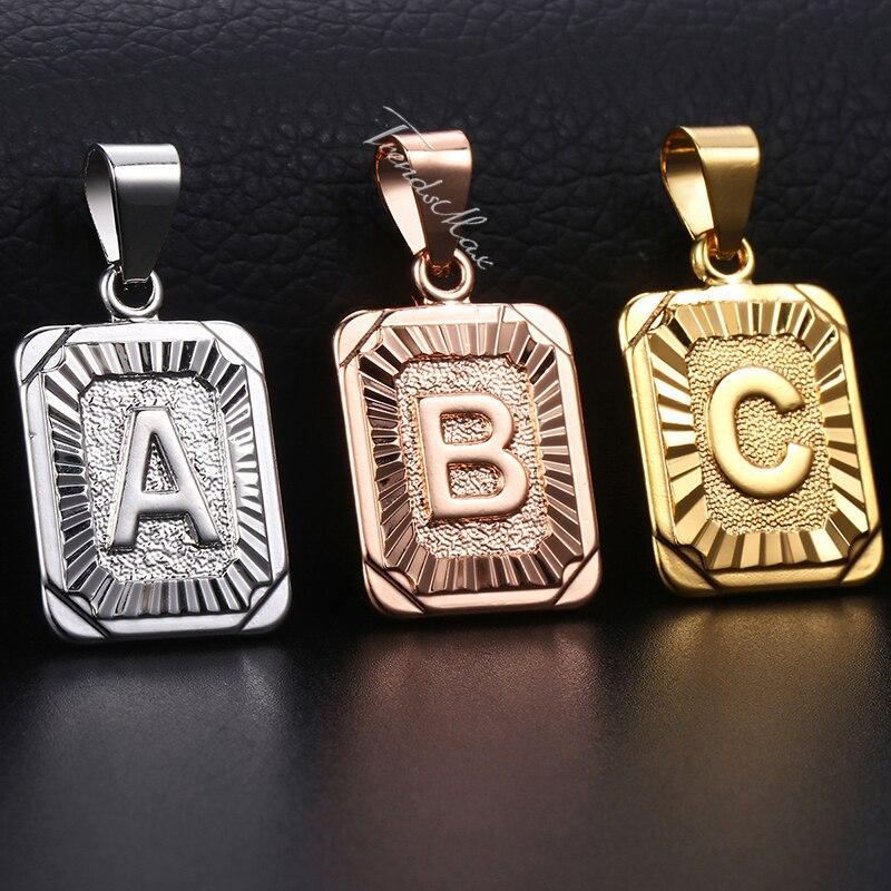 Pingentes letras iniciais A-Z 26, pingentes para mulheres e homens, ouro rosa, prata, cor do amor, letra, joias de presente gpm05
