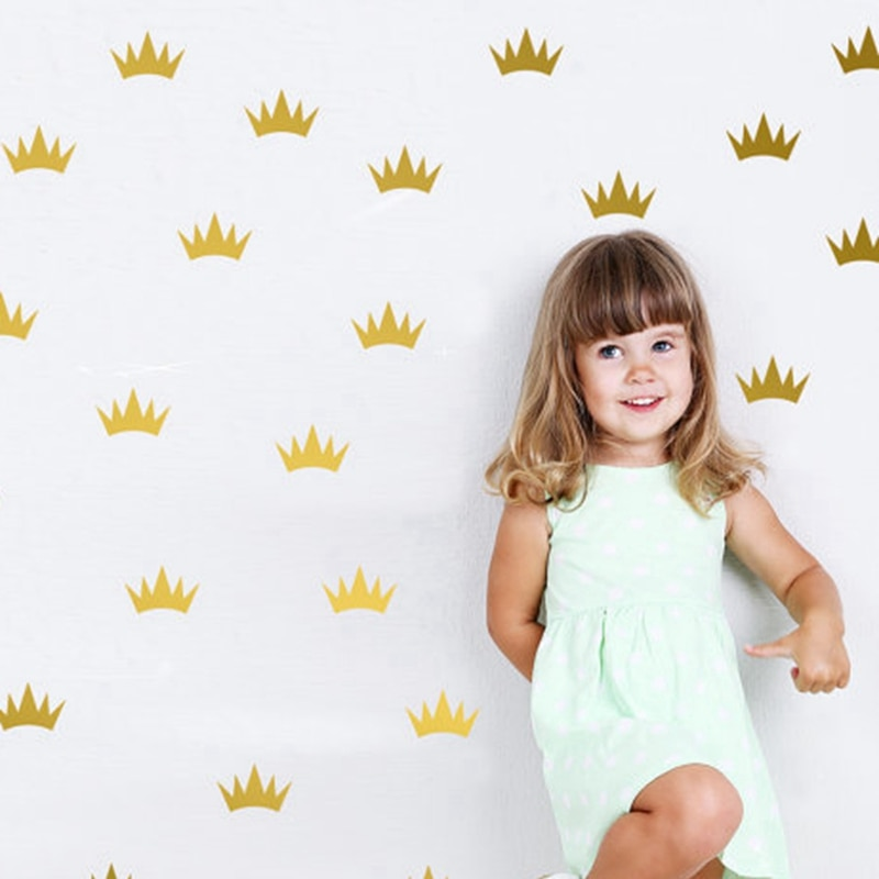 Pegatinas de corona de princesa, decoración de pared para niños y niñas, Mini pegatina de corona de princesa para decoración de etiquetas de fiesta