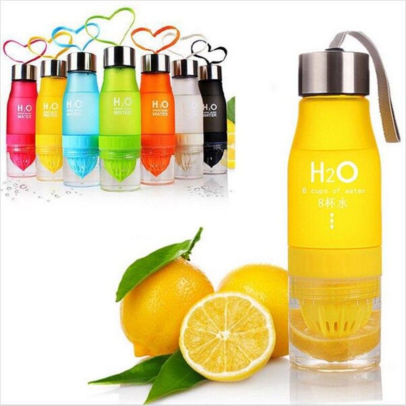 Botella de agua portátil de 650 ml con estilo a la moda, botella de zumo de limón exprimido, botella de infusión de frutas, botella de viaje para bicicleta deportiva al aire libre