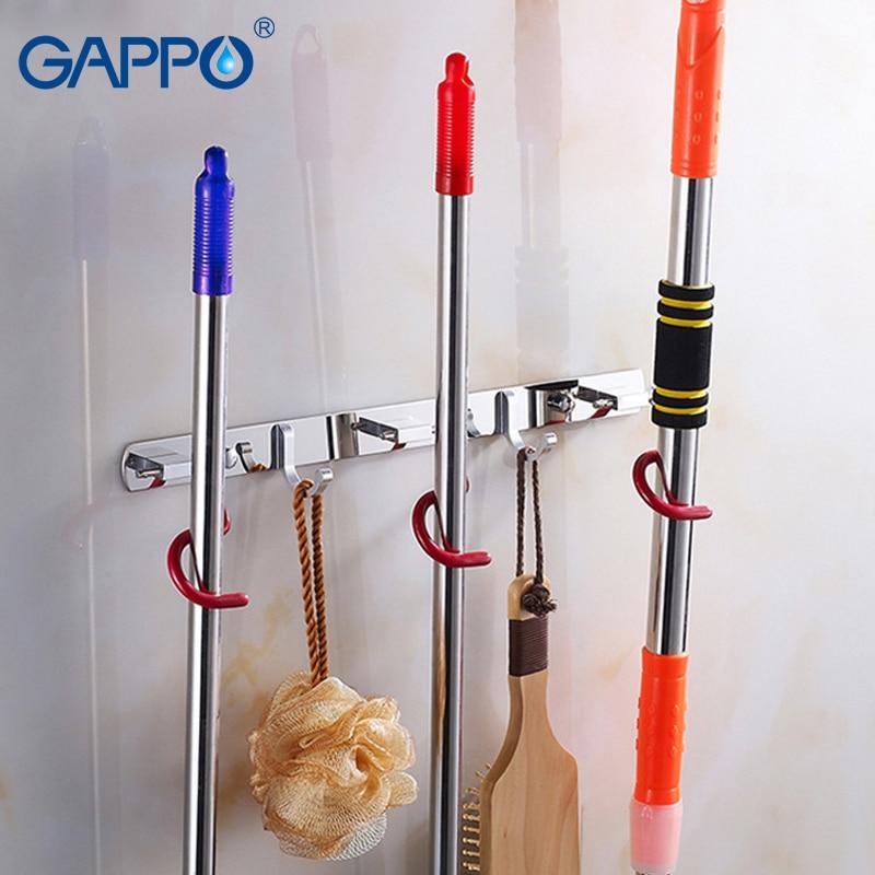 GAPPO-خطافات ملابس من الفولاذ المقاوم للصدأ ، إبداعية ، للمكانس والمماسح ، متعددة الوظائف ، ملحقات الحمام