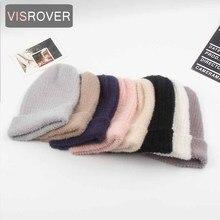 VISROVER 6 couleurs automne hiver couleur unie réel cachemire bonnets pour femme nouveau cachemire unisexe chaud casquette décontracté haute qualité