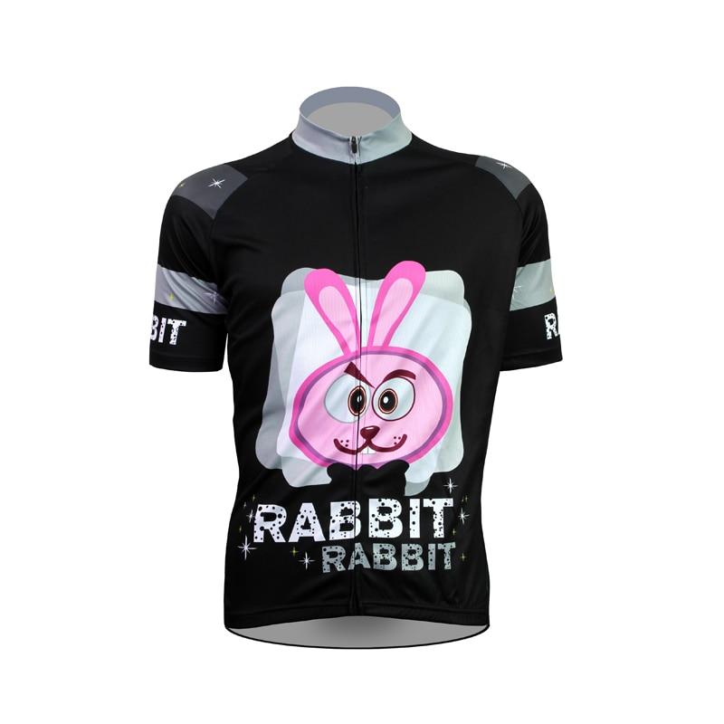 Alien ropa deportiva conejo patrón hombres verano manga corta ciclismo Jersey negro 100% poliéster transpirable bicicleta ropa tamaño XS-5XL