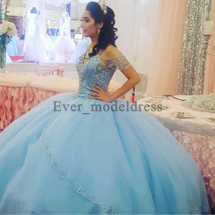 Vestidos De Fiesta De lujo azul cielo claro 2019 cuello pico vestido De bola sin espalda hombros De tul Vestidos De fiesta De noche
