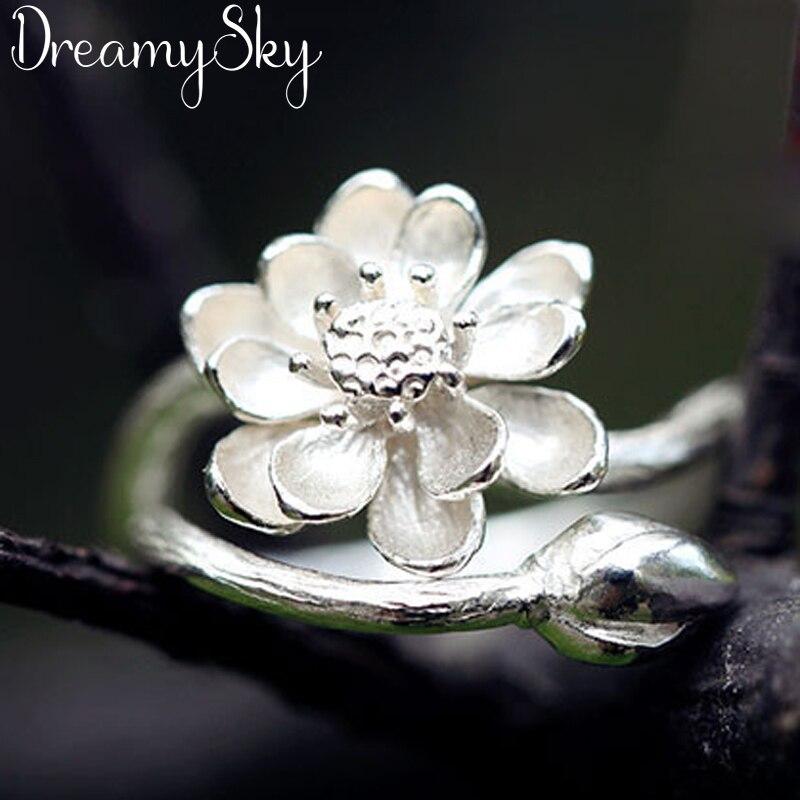 Роскошное ювелирное изделие модного серебристого цвета, антикварное Открытое кольцо в виде лотоса для женщин, Женское кольцо большого регу...