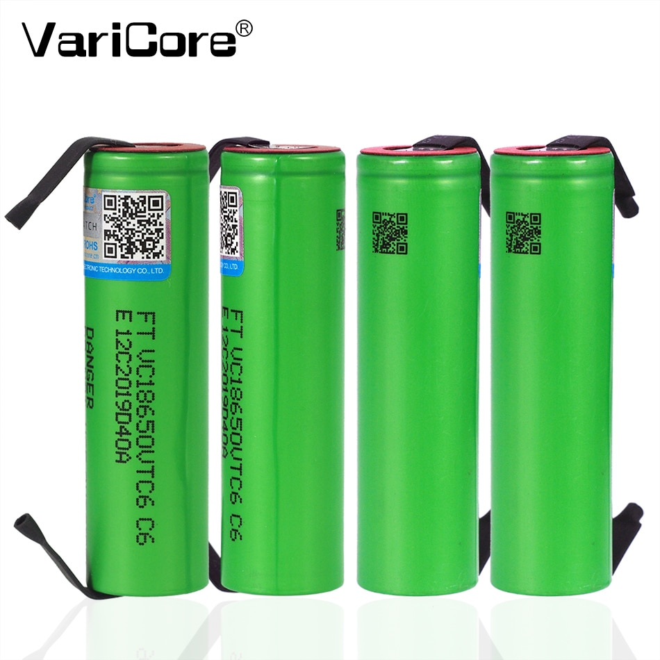 VariCore Neue VTC6 3,7 V 3000 mAh lithium-ion Batterie 18650 US18650 VTC6 30A batterie + DIY Nickel blätter Batterie