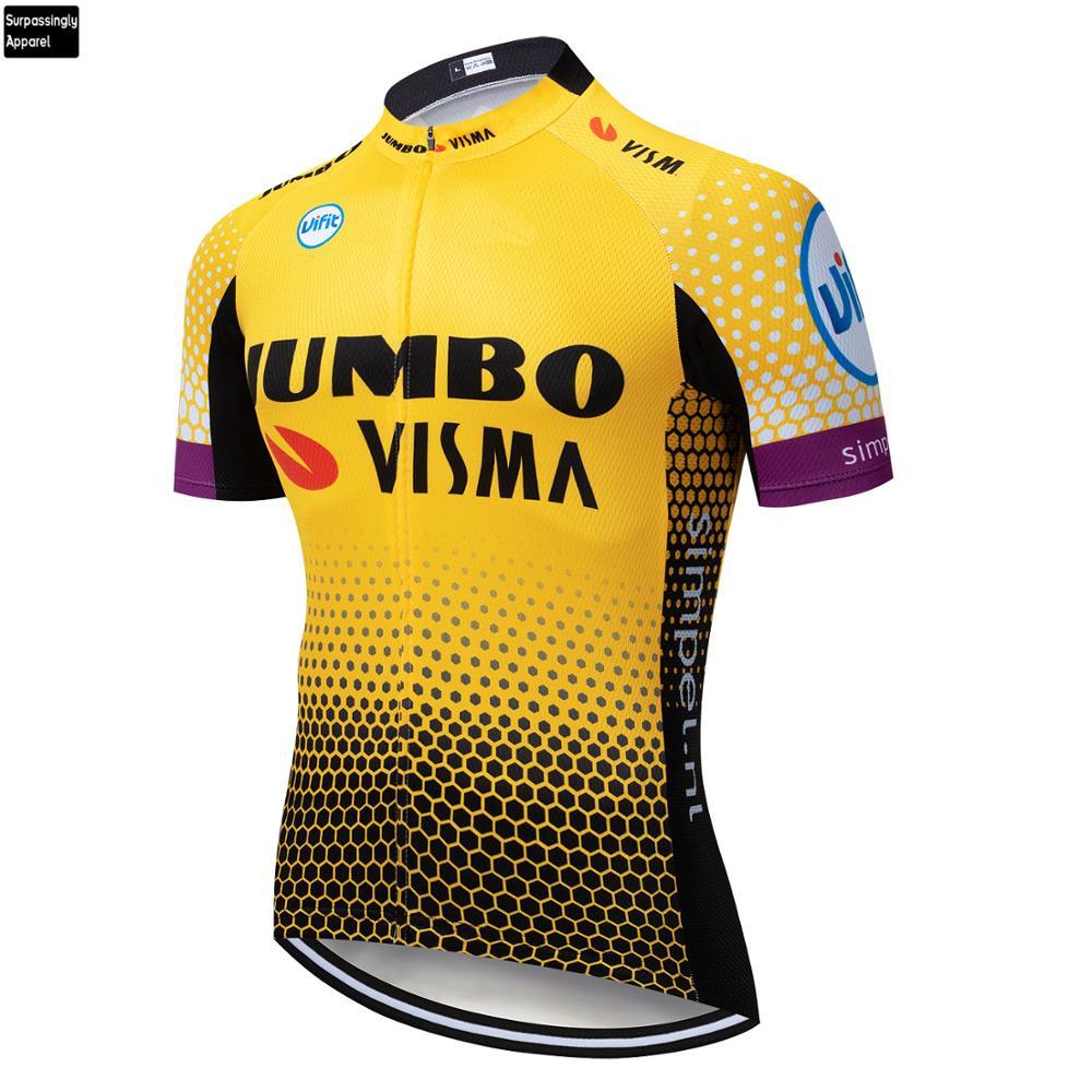 2019 Tour Jumbo VISMA Team Pro MTB Cycling Jersey Yellow Ropa Ciclismo Summer Mens Bicycling Shirts Maillot Bike Wear Outdoor
