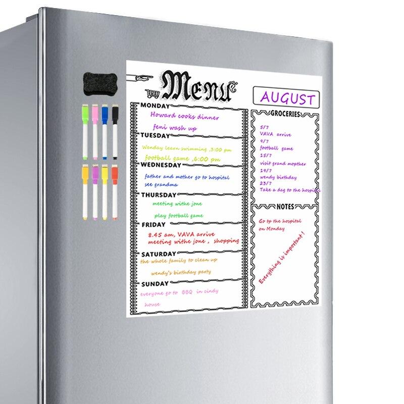 Calendario semanal de borrado en seco pizarra blanca magnética organizador de lista de comestibles para refrigerador de cocina pizarra blanca-planificadores inteligentes