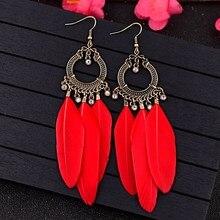 TopHanqi capteur de rêves rouge noir bleu multicolore plume boucles doreilles femmes incrusté cristal métal gland boucles doreilles bijoux accessoires