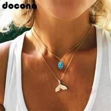 Collier docona sirène pour femmes en couches or collier bleu pierre sirène queue pendentif colliers bijoux de fête 6618
