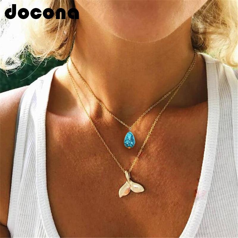 Женское Ожерелье с русалкой docona, многослойное золотое ожерелье с синим камнем и хвостом Русалочки, украшения для вечеринок, 6618