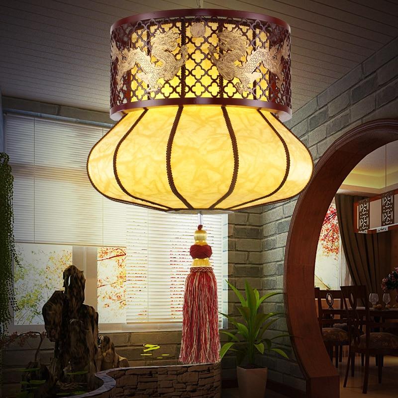 Candelabro chino de madera arte clásico candelabro redondo de madera restaurante dormitorio cálido sala de estar lámpara m