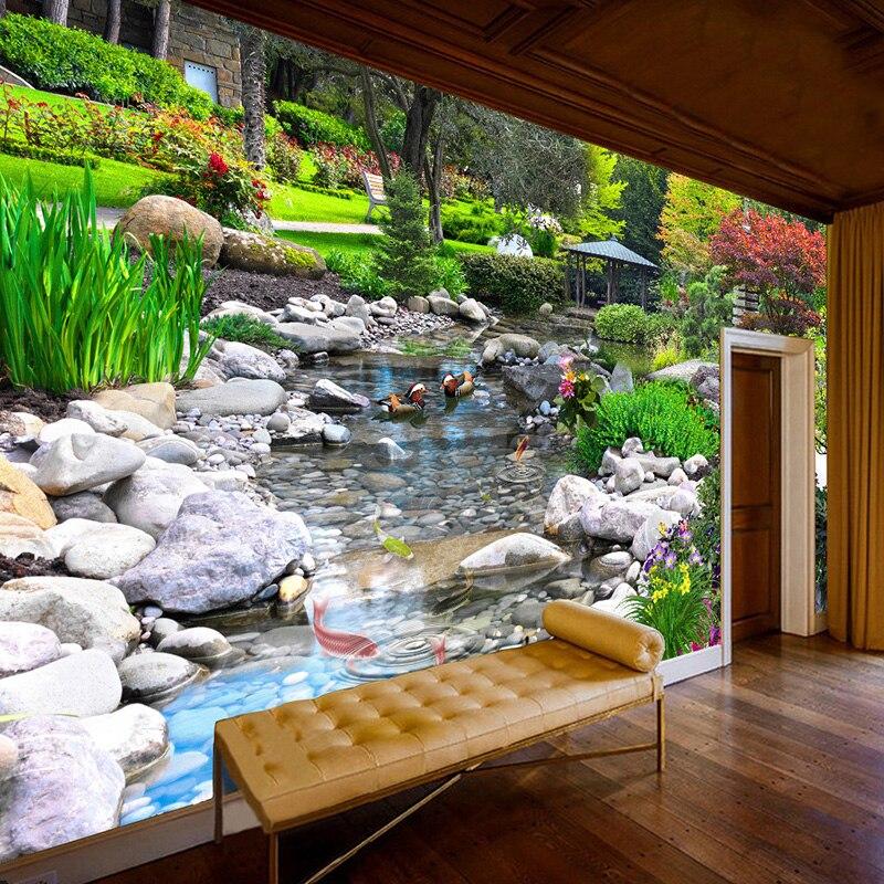 Фотообои на заказ с HD парком, камень, поток, карп, пейзаж, фотообои, настенная живопись, для гостиной, спальни, классический Декор