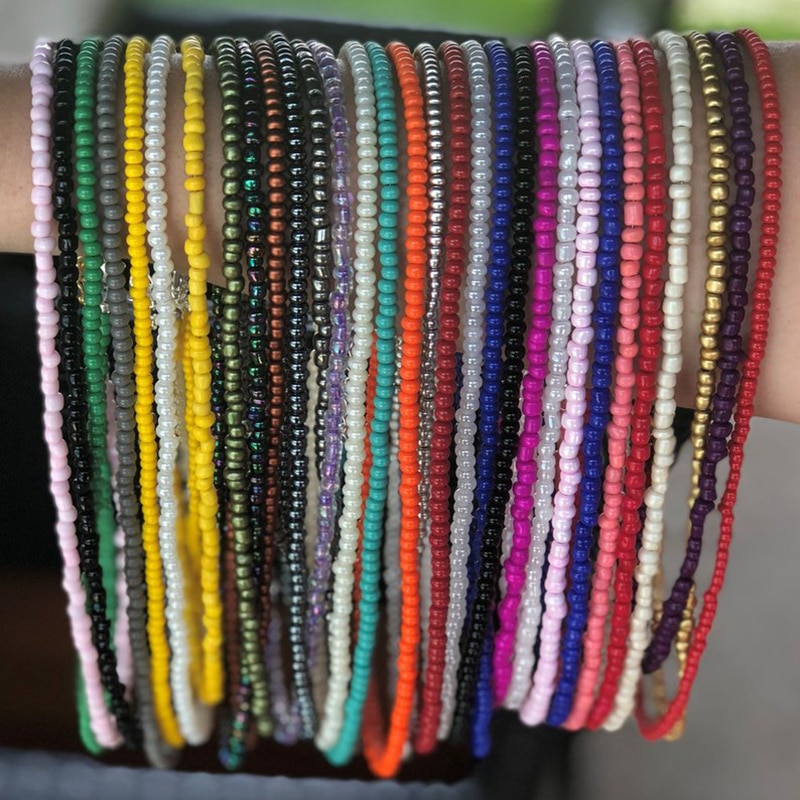 Donarsei 10pcs/set Random Color Beach Sexy Bikini Handmade Beads Waist Chains For Women Summer Belly Chains Belt Body Jewelry