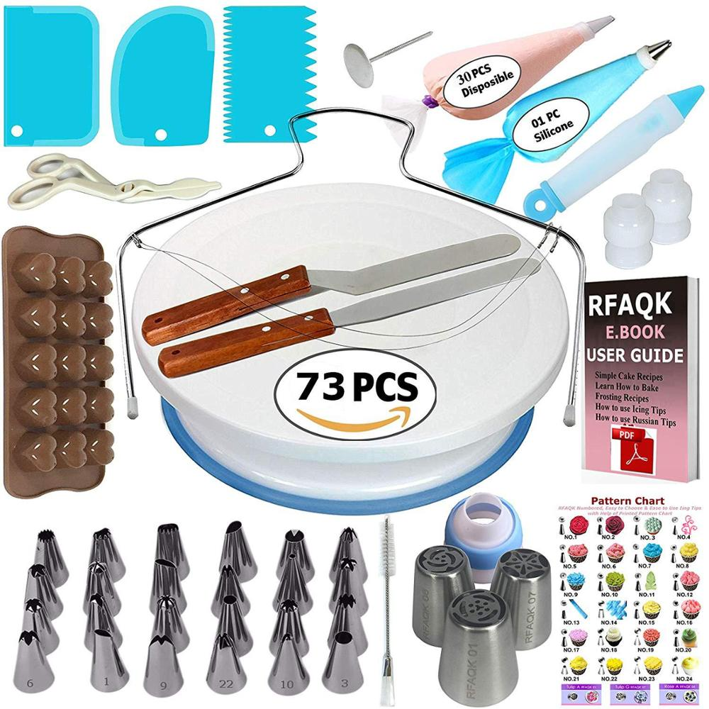 34/42/73/124PCS Cake Decorating Cake Turntable Set Pastry Tube Fondant Tool Kitchen Home Cake Baking Supplies  Baking Tools