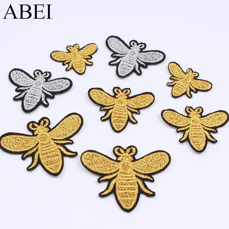 10 teile/los Stickerei Gold Silber Biene Patch Cartoon insekt Aufkleber DIY Nähen Stoff Appliques Handgemachte Abzeichen Patches für Kleidung