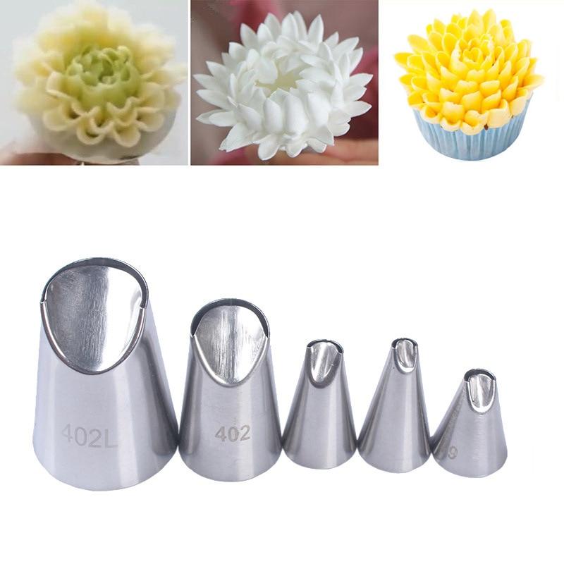 5pcs Chrysanthemum Stainless Steel Nozzles Set Dahlia Icing Piping Cream Nozzles  DIY Cupcake Cake Decorating Tools