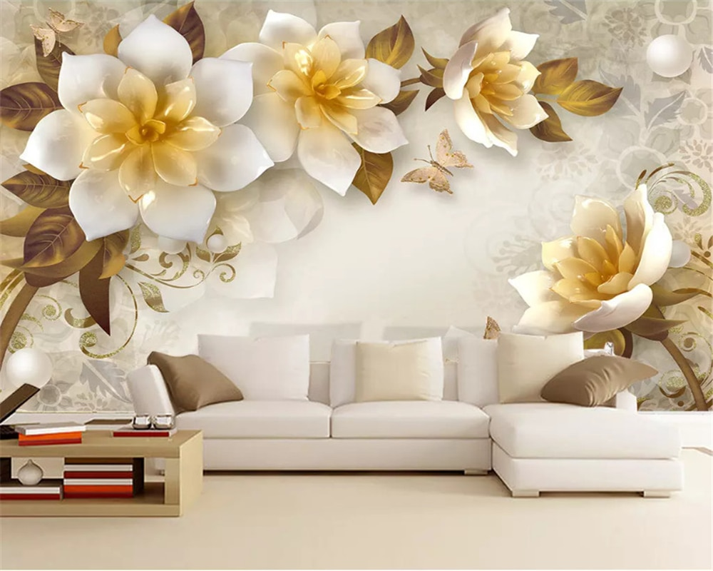 beibehang Custom classic wall paper 3D stereo embossed flower European retro TV background decorative painting 3d wallpaper beibehang formaldehyde free classic wall paper embossed lotus vintage watercolor lotus leaf porch decorative painting wallpaper