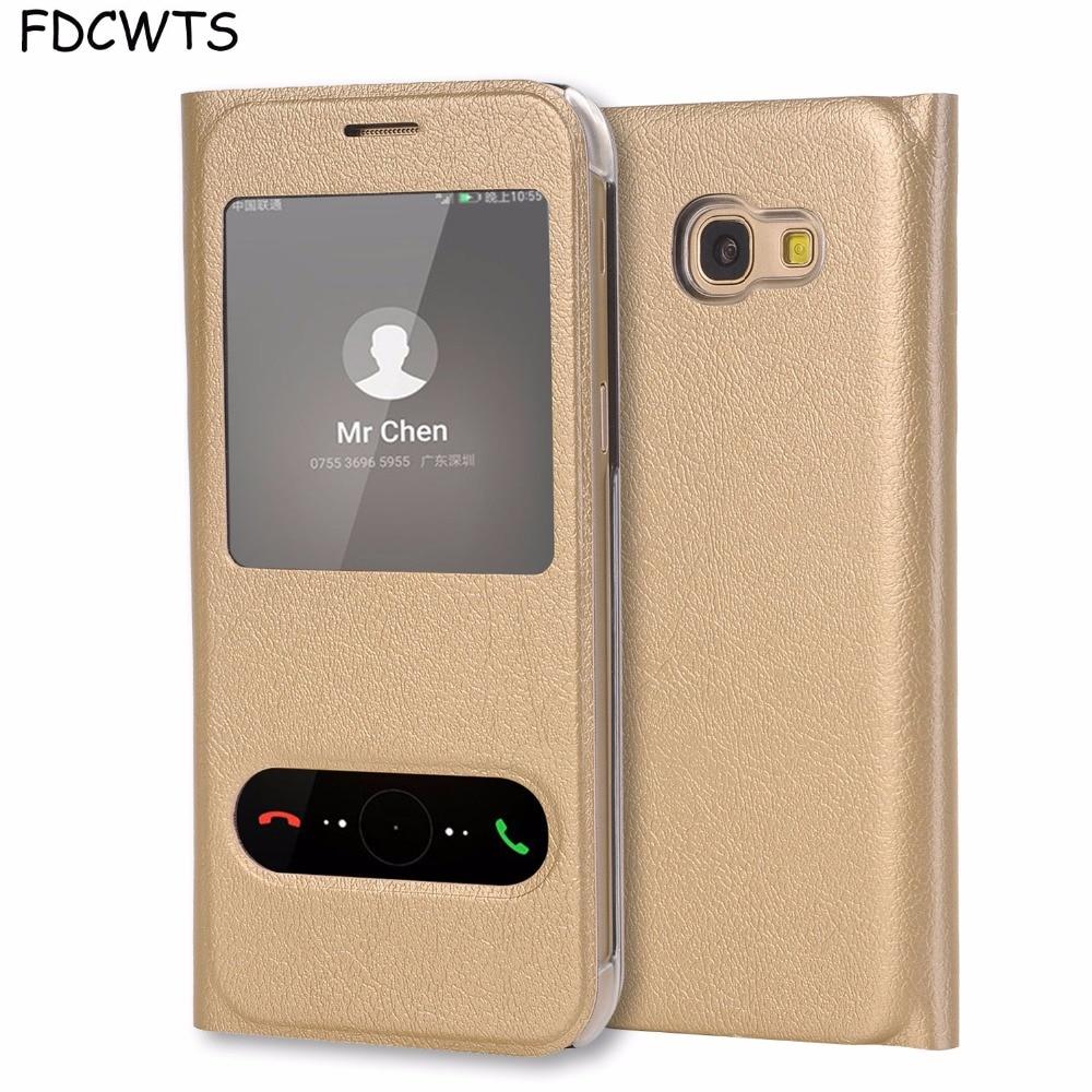 Virar Capa de Couro Caso de Telefone Para Samsung Galaxy A7 A5 A3 2017 UM 3 5 7 SM A320F A520F A720F SM-A720F SM-A520F SM-A320F DS Carteira