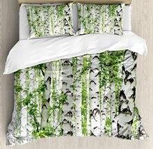 Housse de couette en bois pour décoration   Vert, ensemble de literie, décoration à thème, arbre de bouleau, forêt dété, faune, ensemble de literie
