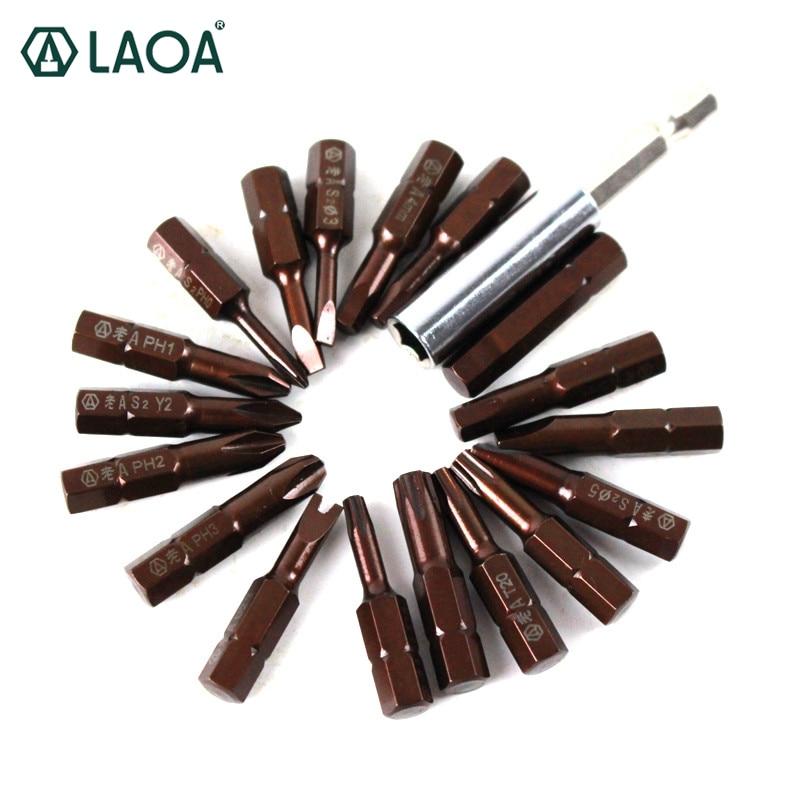 LAOA 20 en 1 Conjunto de puntas de destornillador S2 aleación acero ranurado Phillips Torx y-tipos Bits con 10 rejillas caja magnética varilla larga