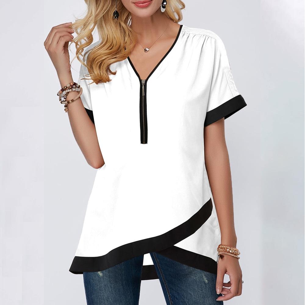 Laamei de talla grande 5XL nuevo otoño mujeres de manga corta Camisa de gasa Sexy profundo cuello pico cremallera Camisetas Mujer blusa Top Blusas