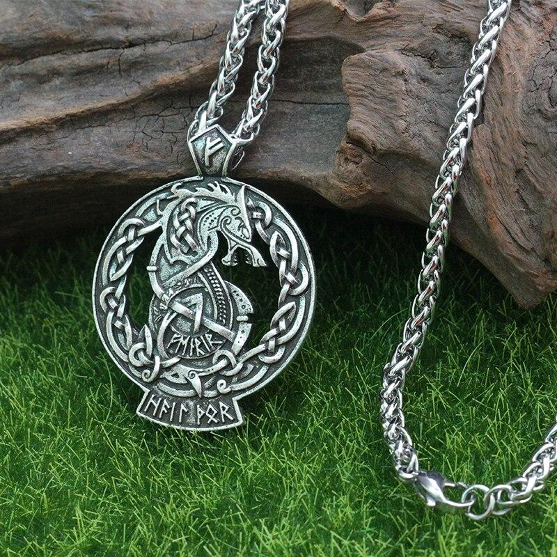 Lanseis 10 قطعة فنرير الذئب صور أودين فايكنغ Valhalla قلادة نورس باقان الآلهة مجوهرات الكيلتي رون الرجال قلادة قلادة