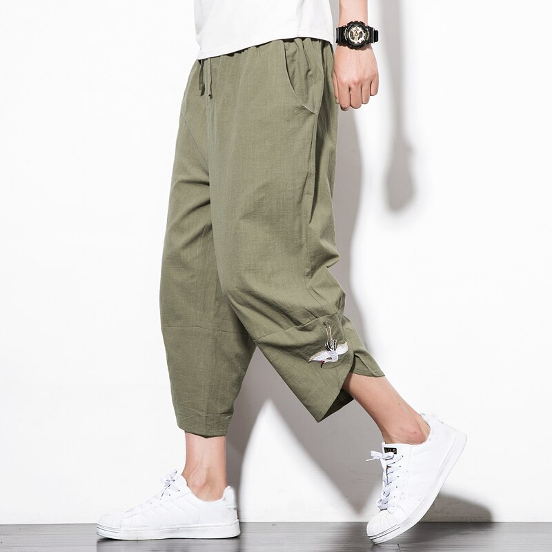 Summer thin men's casual linen pants embroidery calf length Harem pants Loose male wide-legged pants drawstring breathable