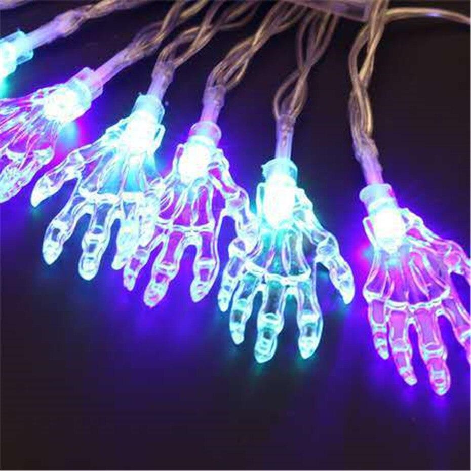 Halloween LED esqueleto mano cadena luces decoración 5 M 50 LEDs batería energía Hada luz Halloween truco-o- tratamiento de decoración de la fiesta