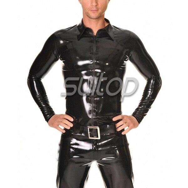 fashion mens latex shirt with long sleeves