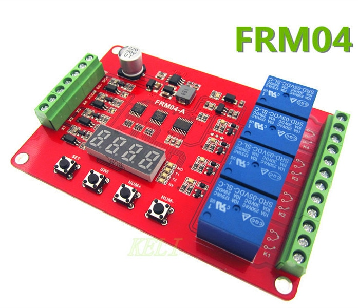 new FRM04 / four multi function relay module / delay / lock / cycle / time / time relay