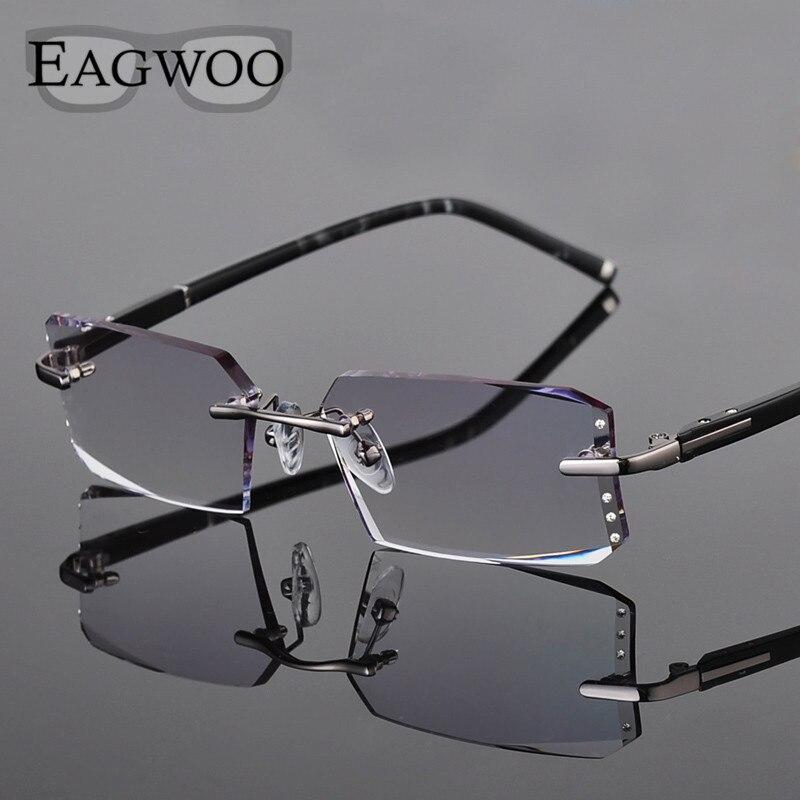 Metall Legierung Brillen Männer Randlose Rezept Lesen Myopie Farbe MR-8 Kristall Gläser Große Breite Rahmenlose Spektakel 258003