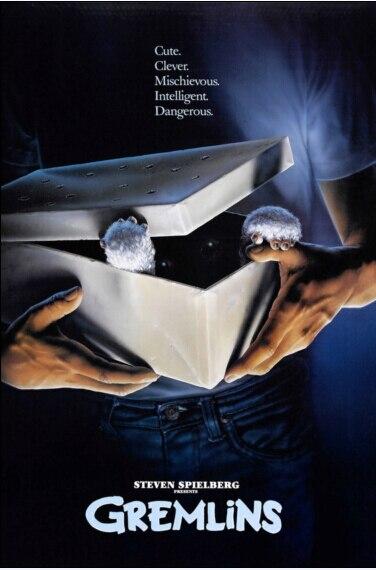 Gremlins 1984 pósteres clásicos de película e impresión de seda brillante tela impresa decoración de pared